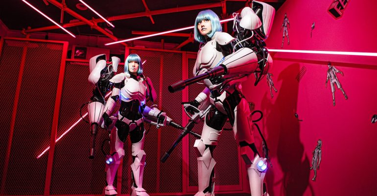 Mannequin rap duo FEMM release new song 'Chewing Gum Cleaner', along with anime-influenced CG video packed with power suits and 700 3D avatars!